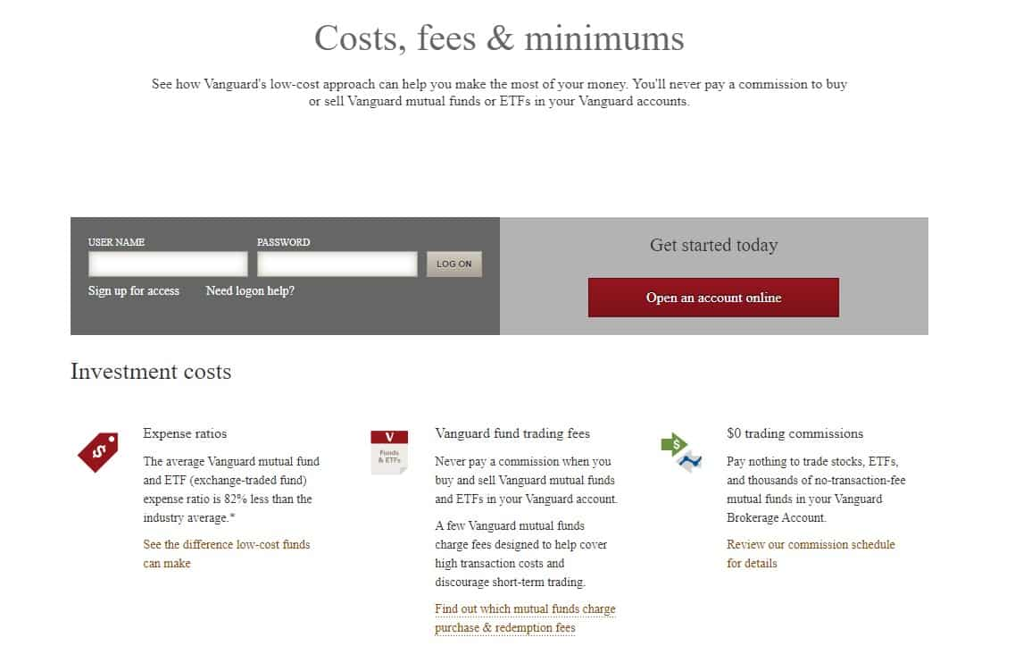 Vanguard Reviews - Costs