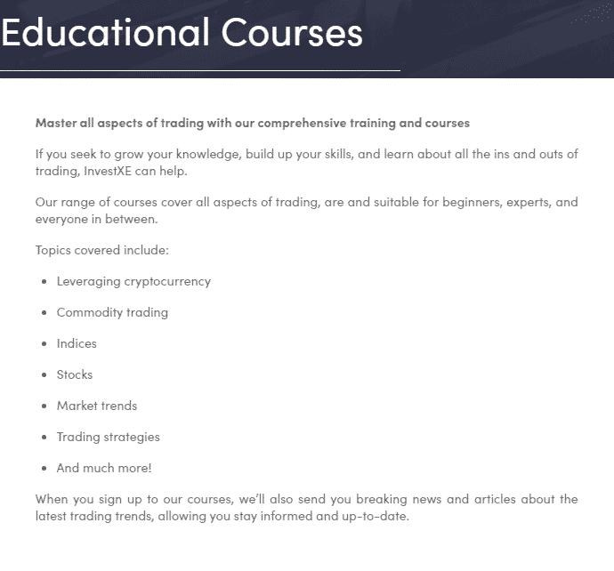 InvestXE Educational Courses