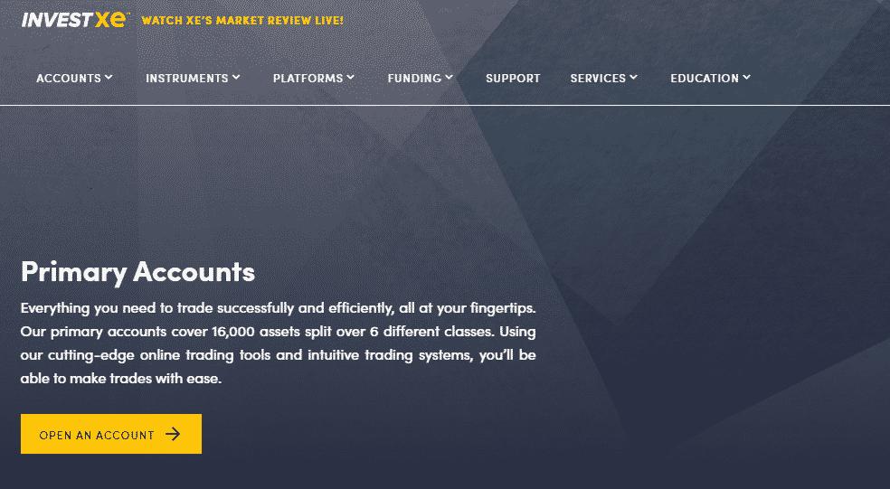 InvestXE Primary Account Overview