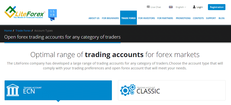 LiteForex Review - Account Types